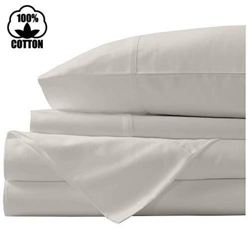 Nish & Joe 100% Cotton Bed Sheet, 300-Thread-Count Extra Long Staple, Luxurious Sateen Weave , 4-Pc Queen Sheet Set,Fits Mattress Upto 15''fit Deep Pockets, Fade & Stain Resistant - Queen, Ivory