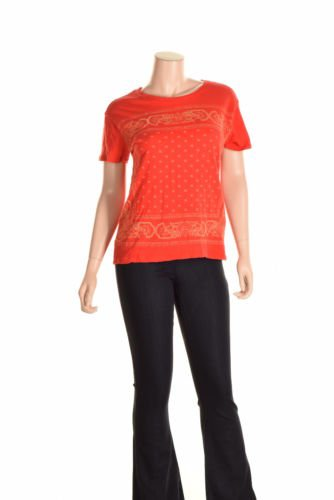 Lucky Brand Womens Cotton Floral Print Pullover Top Red XXL