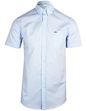 Lacoste Men's Men's Salt And Pepper Cotton Light Blue Shirt in Size L Light Blue