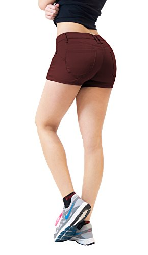 Womens Butt Lifting Twill Denim Shorts SH43308X Brown 14 (Womens Brown Shorts)