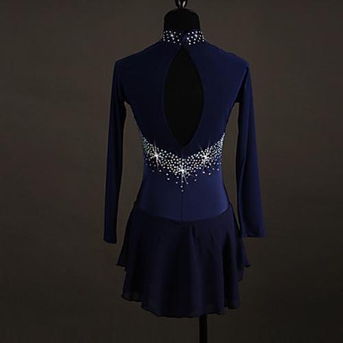 Alta Dark Blue Sobre Hielo Elasticidad Pedrería Azul amp;dress Yydress Tt Ropa Oscuro Vestido Artístico Patinaje Vestidos Mujer Rendimiento Chica Naranja De FR8x4HqwZ