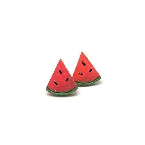 Watermelon Earrings, Hypoallergenic Plastic Post Studs for Metal Sensitive Ears