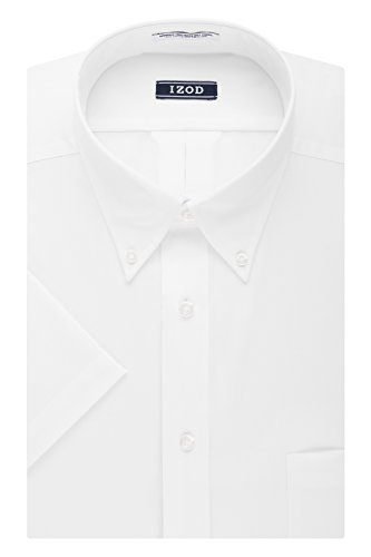 IZOD Men's Regular Fit Short Sleeve Solid Dress Shirt, White, 15.5