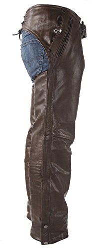 Top Grade Brown Leather Chaps with Removable Liner Medium