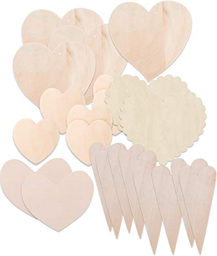 Set of 22 Unfinished Wood Heart Shapes for Valentines Crafts, Weddings, Decorations Wreaths Includes 6-3 in, 4-4.75 in, 8 Primitive 6 in, 2-2.5 x 3 in, 2-4.75 in. Scalloped