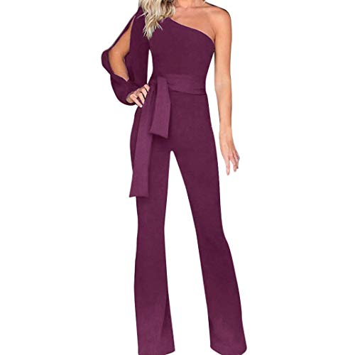 JOFOW Women's Jumpsuit,Casual Solid One Shoulder Off Cold Shoulder High Waist Belt Tie Knot Tunic Wide Leg Rompers for Women (M,Purple) -