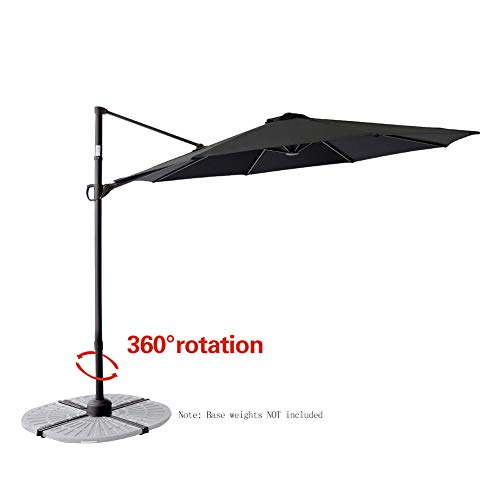 C-Hopetree 10' Offset Hanging Market Style Cantilever Umbrella with Tilting for Large Patio Table Outdoor Balcony Backyard Pool, Black ()