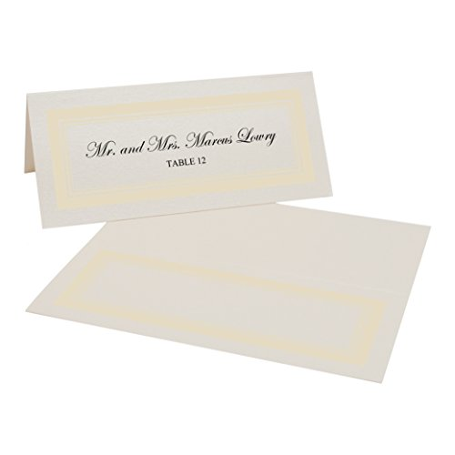 Triple Line Border Easy Print Place Cards, Champagne, Ivory, Set of 300 (75 Sheets) by Documents and Designs