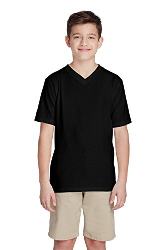 French Toast Little Boys Short Sleeve V-Neck Tee, Black, 6 ()