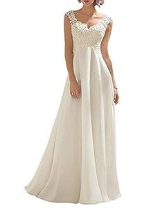 Borje Women's Double V-Neck Sleeveless Lace Wedding Dress Evening Dress