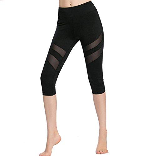 AmyDong Yoga Pants, Women Sports Capri Pants Skinny Leggings Patchwork Mesh Yoga Leggings Fitness Summer Sports Pants