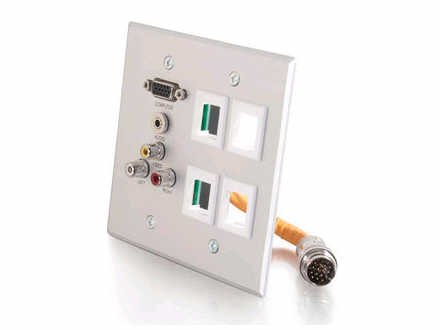 C2G/Cables to Go 60029 RapidRun Double Gang Integrated VGA (HD15) + 3.5mm + Composite Video + Stereo Audio + (4) Keystone Wall Plate, Brushed Aluminum
