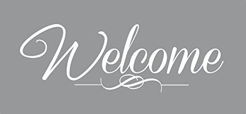 Welcome Vinyl - Wall Decor Plus More WDPM3915 Welcome Sticker for Front Door Modern Wall Art Vinyl Decals, 15 x 5