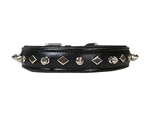 Derby Originals Dog Designer Series USA Leather Spikes and Diamond Padded Dog Collar, Black, 24