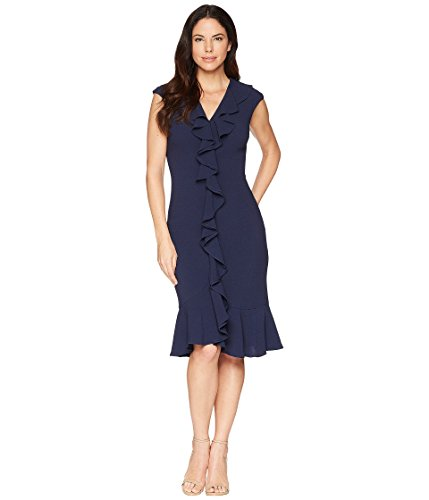 Maggy London Women's 30s Crepe Cascade Ruffle Front Dress Navy 6