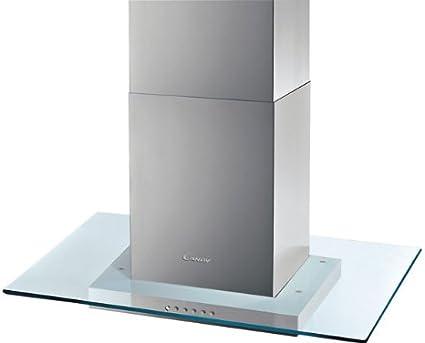 Candy CVMI 970 LX - Campana (727 m³/h, Canalizado, 68 dB, Isla, Acero inoxidable, Transparente, Vidrio, Acero inoxidable): Amazon.es: Hogar