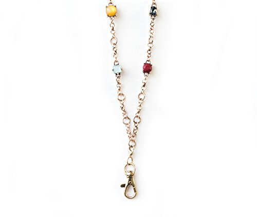 Georgia Multi-Colored Crystal Station Statement Lanyard Necklace (Gold) (Gold Multi Colored Crystal)
