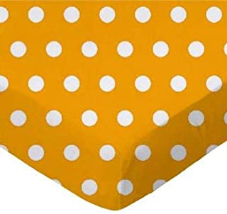 product image for SheetWorld 100% Cotton Percale Fitted Crib Toddler Sheet 28 x 52, Polka Dots Gold, Made in USA