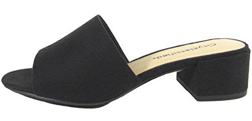 City Classified Women's Block Heel Slip On Clog Mule Sandal (7.5 B(M) US, Black) (Mules Black Sandals)