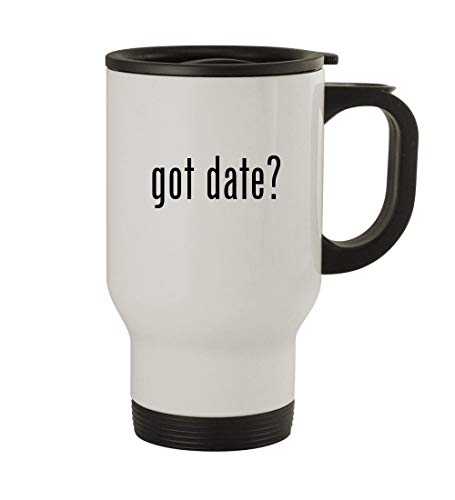 got date? - 14oz Sturdy Stainless Steel Travel Mug, White