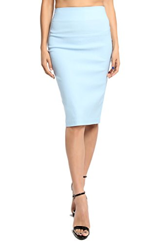 TheMogan Women's Curve Hugging High Waisted Pencil Skirt Light Blue S (Light Blue Pencil Skirt compare prices)