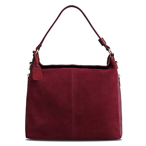 Women Real Suede Leather Tote Bag Female Leisure Large Shoulder Bags Casual Nubuck Travelling,Burgundy