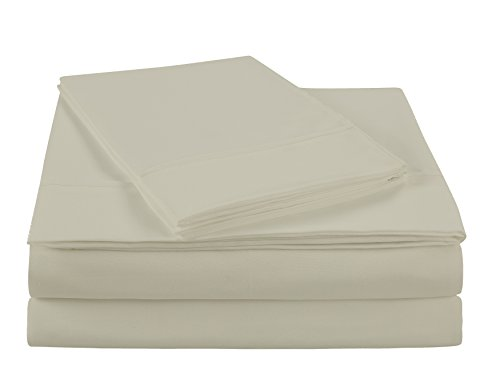 NC Home Fashions Ultra Soft Brushed Microfiber Solid Sheet Set- Wrinkle, Fade, Stain Resistant-Cali King, Bone White-4 Ps