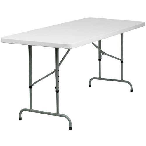 Flash Furniture 30''W x 72''L Height Adjustable Granite White Plastic Folding Table