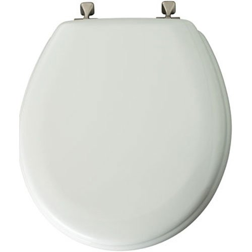 (MAYFAIR Toilet Seat with Brushed Nickel Hinges will Never Come Loose, ROUND, Durable Enameled Wood, White, 44BNA)