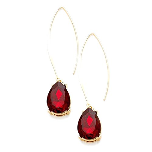 Uniklook Chic Urban Red Austrian Crystal Long Gold Fish Hook Hoop Gift Idea Earrings Affordable Jewelry (Red) (Austrian Crystal Fish)