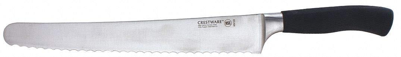 Crestware KN122 - Bread Knife Serrated 10 in L Black