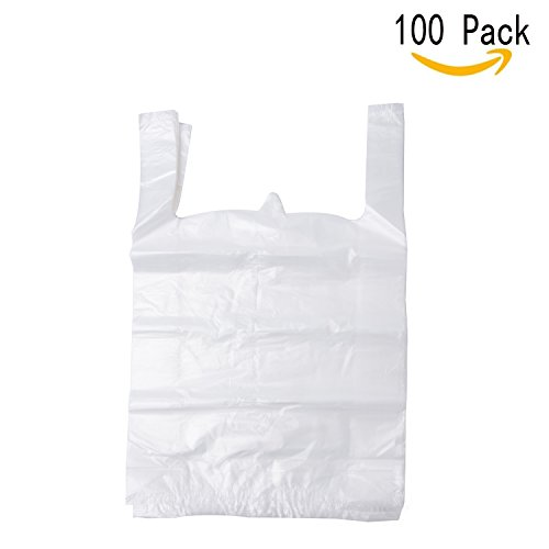 LazyMe 12 x 20 inch White Plastic Thick T Shirt Bags, Handle Shopping Bags, Multi-Use Large Size Merchandise Bags, White Plain Grocery Bags, Durable - White Plains In Shopping