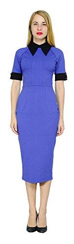 Dress Ponte Collar (Marycrafts Women's Contrast Short Sleeve Collar Midi Dress Work Office 18 Blue)