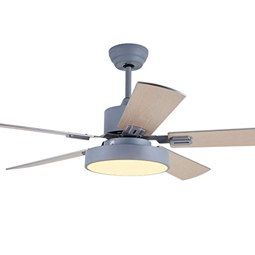 Ceiling Fans Nordic Ceiling Fan Light Modern Living Room Dining Room Bedroom Mute Home Fan Chandelier Simple Fashion Fan Light Ceiling Fan Light ( Color : Gray-b , Size : 52in-Dual control )