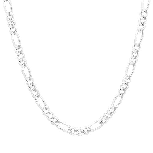 Sterling Silver Neck Chain (NYC Sterling Unisex Italian Italian Heavy Link 5mm Figaro Chain in Solid Sterling Silver (22