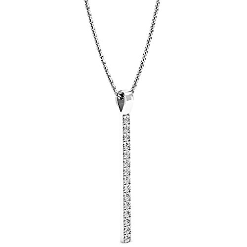 - Dazzlingrock Collection 0.45 Carat (ctw) 14K Round Diamond Vertical Bar Pendant (Silver Chain Included) 1/2 CT, White Gold
