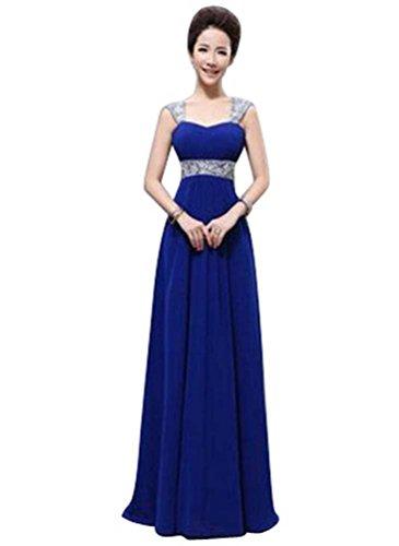 Beauty-Emily Damen Kleid Gr. 34, Blau - Königsblau