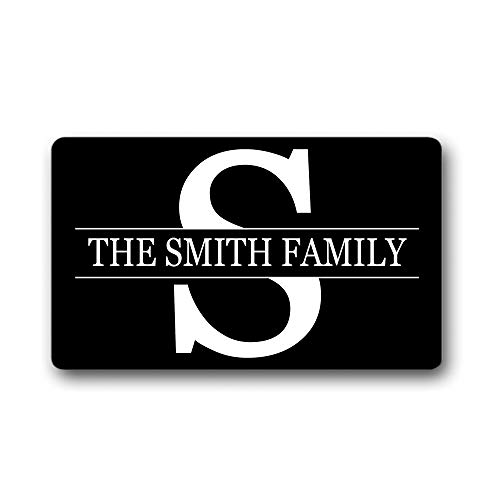 The Smith Family Name/Text Personalized Custom Gift Black - Outdoor/Indoor Non Slip Decor Funny Floor Door Mat Area Rug Doormat 15.7x23.6 Inch