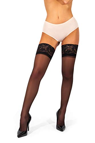 sofsy Lace Sheer Thigh-High Stockings/Pantyhose w/Hold-Up Silicone - 15 or 20 Denier [Made in Italy]