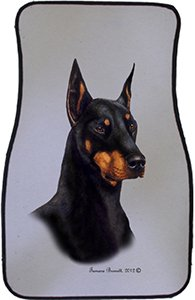 Black Tan Cropped Doberman Pinscher Car Floor Mats - Carepeted All Weather Universal Fit for Cars & Trucks