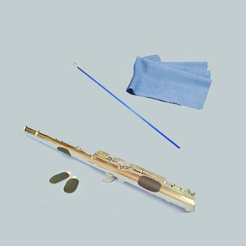 Flute Players Accessory Bundle - Flute Guide Finger Cushions + Blue Flute Cleaning Rod & Cleaning Cloth Flute Essentials FAP-Bl