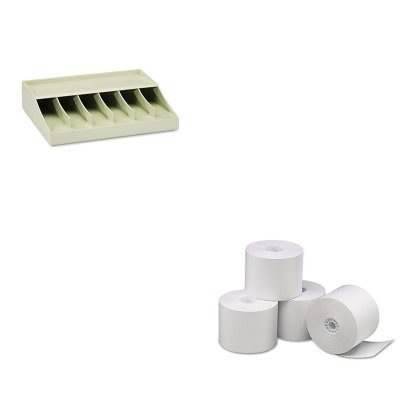 KITMMF210470089UNV35761 - Value Kit - Universal Single-Ply Thermal Paper Rolls (UNV35761) and MMF Bill Strap Rack (MMF210470089)
