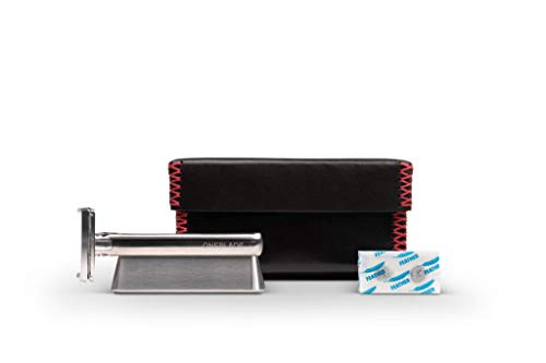 OneBlade Genesis Award-Winning Stainless Steel, Pivoting Head, Safety Razor with Razor Stand & Leather Case Plus 10 Feather Blades (Single Blade Safety Razor As Seen On Tv)