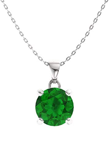 - Diamondere Natural and Certified Emerald Solitaire Petite Necklace in 14k White Gold | 0.42 Carat Pendant with Chain