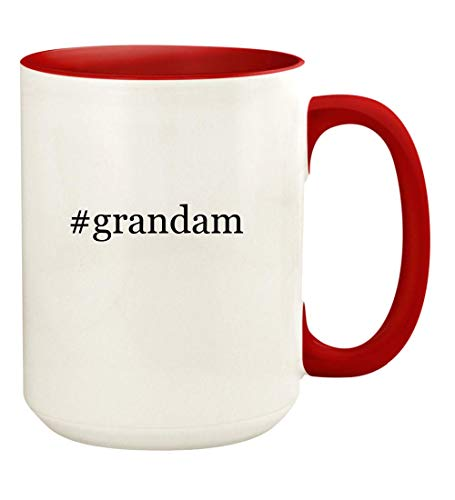 - #grandam - 15oz Hashtag Ceramic Colored Handle and Inside Coffee Mug Cup, Red