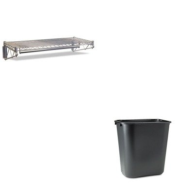 KITALEWS4818SRRCP295600BK - Value Kit - Best Steel Wire Wall Shelf Rack (ALEWS4818SR) and Rubbermaid-Black Soft Molded Plastic Wastebasket, 28 1/8 Quart (RCP295600BK)