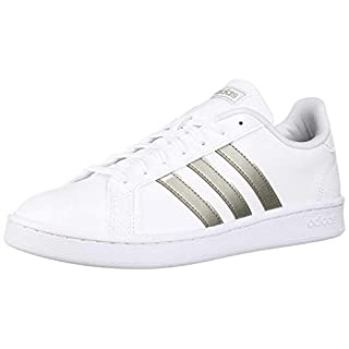 adidas Women's Grand Court Tennis Shoe, White/Platino Metallic/White, 5.5 M US