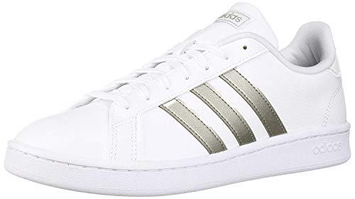 adidas Women's Grand Court Tennis Shoe, White/Platino Metallic/White, 5.5 M US