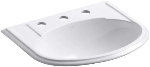KOHLER K-2279-8-0 Devonshire Self-Rimming Bathroom Sink, White