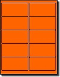 "200 Label Outfitters 4"" x 2"" Fluorescent Neon Orange Laser Printer Labels - 20 Sheets"